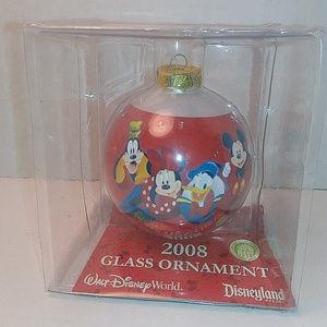 2008 Disney World Glass Ornament